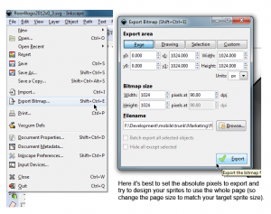 Inkscape Export Settings (Ctrl+Shift+E)